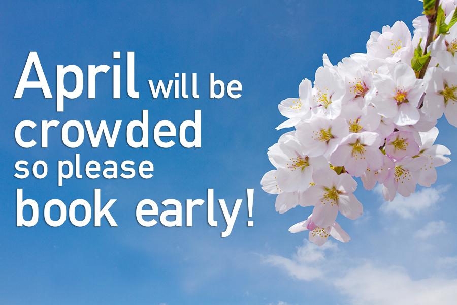 4月は予約が混み合います!お申込はお早目に!!
